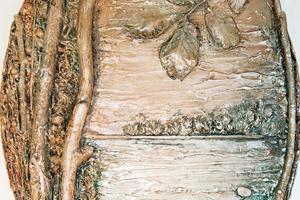 Панно «Лесное озеро». Тонкая рельефная паста.