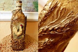 Декупаж бутылки «Деревенской» своими руками. Мастер-класс с фото