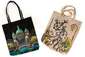 Дизайнерские сумки «Белые Ночи». Роспись красками по ткани и моделирующим гелем