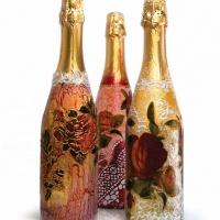 Декупаж бутылки шампанского своими руками. Мастер-класс с пошаговыми фото