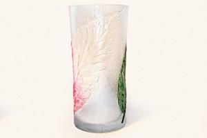 Ваза «Листья во льду». Декор прозрачным моделирующим гелем.