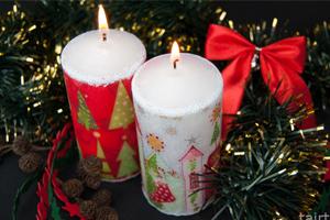 Новогодний декупаж на свечах