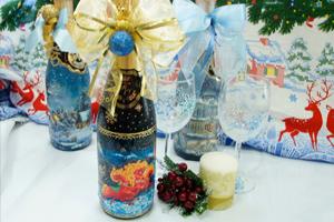 Новогодний декупаж бутылки шампанского мастер класс