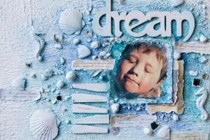 Декоративное панно «В мечтах о море» в стиле mixed media