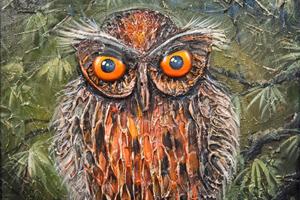 Интерьерная картина «Сова». Рисуем сову рельефной пастой.
