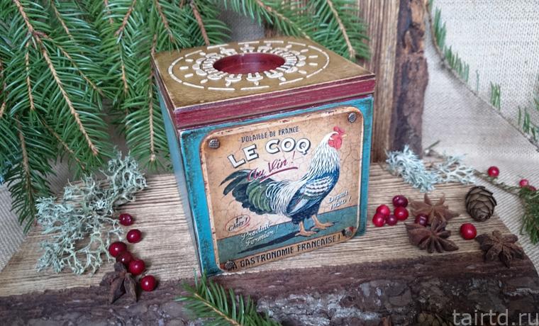Декупаж новогоднего подсвечника «Le Coq»
