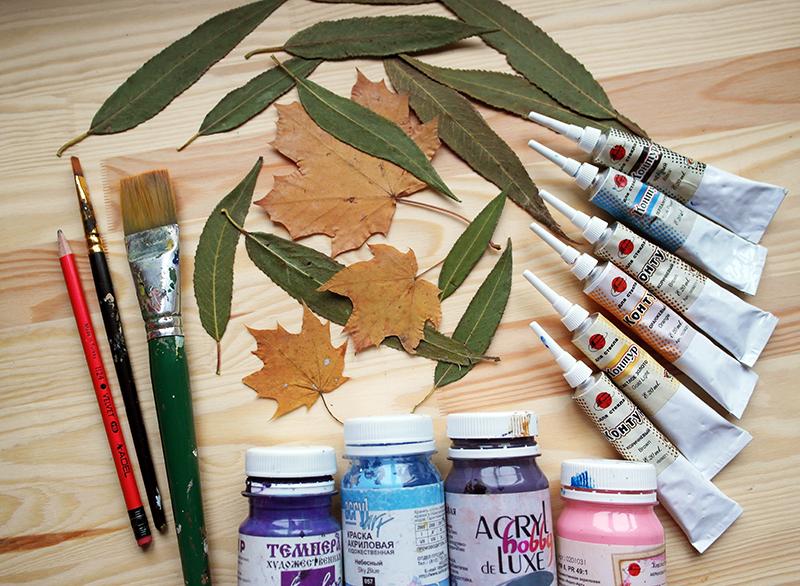 Роспись осенних листьев. Акрил.