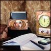 Часы из гарнитура для мужского кабинета. Имитация мрамора и состаренной позолоченной чеканки.