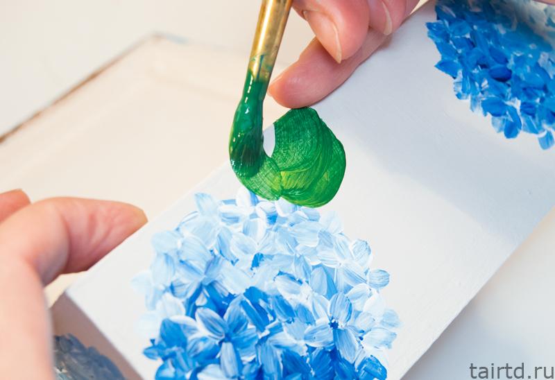 Роспись шкатулки или как нарисовать гортензию