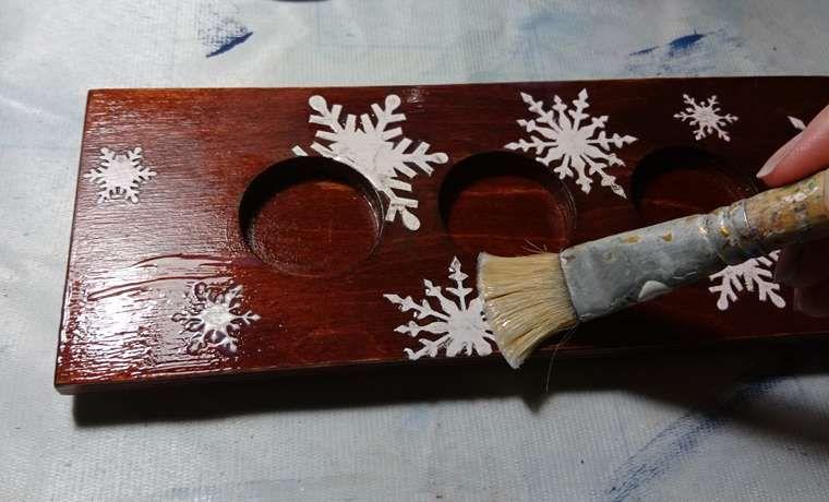Декор новогоднего короба-подсвечника
