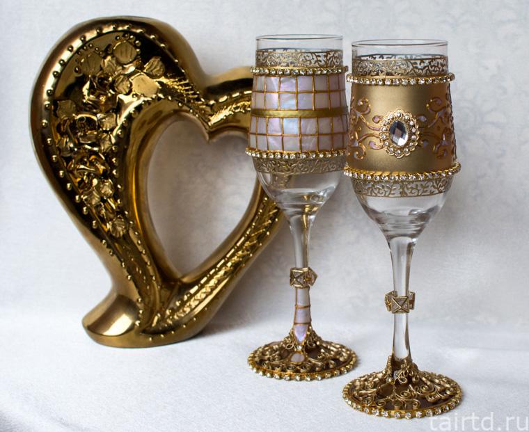 Свадебные бокалы с имитацией перламутра